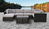 Kensington 6-Piece Modular Outdoor All-Weather Wicker Sectional and Nesting Table on Patio - Front View