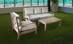 Indio 3-Piece Solid Eucalyptus Outdoor Seating Set with Cushioned Sofa, Chair and Matching Table