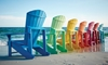 A rainbow of eco-friendly adirondack chairs made from 95% recycled materials.