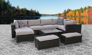Kensington Complete Modular Outdoor Sectional & Nesting Table in Brown Wicker and Neutral Fabric for your patio