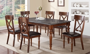 Natural Bluestone 5-Piece Dining Set with 72-inch Table and 4 Cushioned Chairs in Warm Walnut Finish