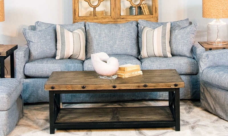 Two Lanes Hamilton Track Arm Sofa with Soft Blue Stain Resistant Slipcover
