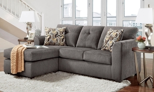 Washington Furniture Kelly Tufted Chaise Sofa in Gray Upholstery