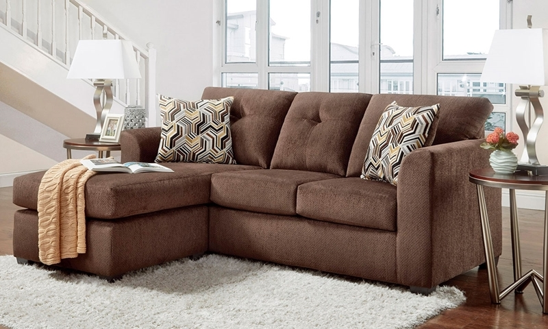 Washington Furniture Kelly Tufted Chaise Sofa In Chocolate Brown Upholstery