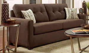 Washington Furniture Mitchell Tufted Track Arm Sofa in Chocolate Brown Upholstery