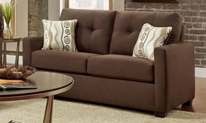 Washington Furniture Mitchell Tufted Track Arm Loveseat in Chocolate Brown Upholstery