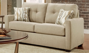Washington Furniture Mitchell Tufted Track Arm Loveseat in Sand Upholstery