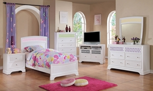 Funhouse Complete Bedroom Set with Full Bed with Changeable Color Panels, Dresser, Mirror, Nightstand and Drawer Chest in White Finish