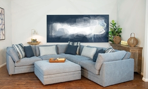 3-Piece Twill Chambray Feather  Down Sectional Sofa with Toss Pillows in Soft Blue Upholstery