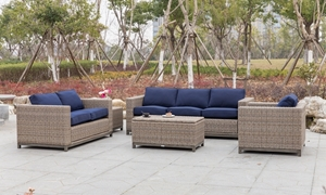 Plank & Hide Judd 5-Piece Outdoor Living Room  Set with Sofa, Chair, Loveseat, End Table and Storage Cocktail Table with Indigo Blue Sunbrella Fabric Cushions