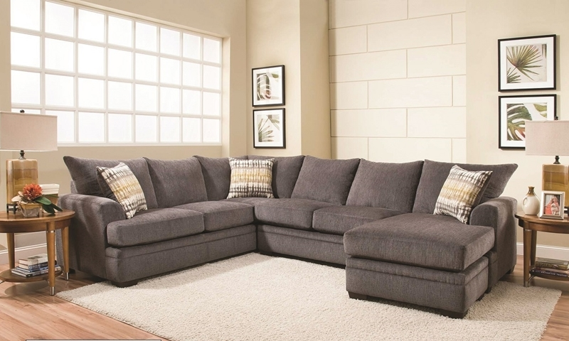 Perth Smoke American-Made Sectional with Right Side Chaise