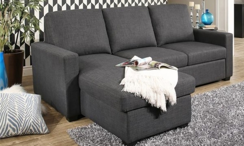 Abbyson Living Queen Sleeper Sofa with Reversible Storage Chaise in Gray Upholstery