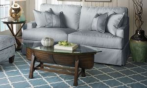 Two Lanes Davis Gray Slipcovered Track Arm Sofa