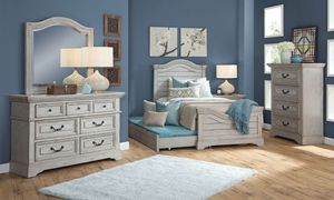 Twin bedroom set with panel bed and 7-drawer dresser with mirror in antique grey finish