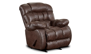 Washington Furniture Brown Triple Pillow Back Rocker Recliner