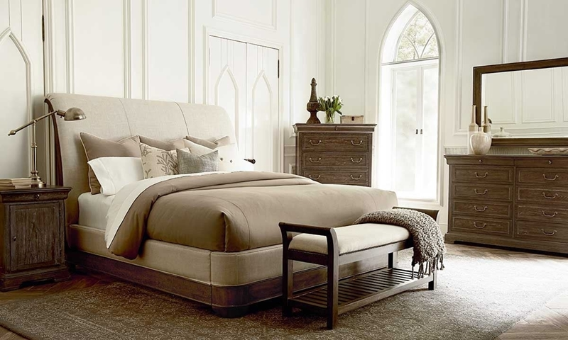A.R.T. St. Germain Louis Philippe King Sleigh Bed in Neutral Tone Upholstery