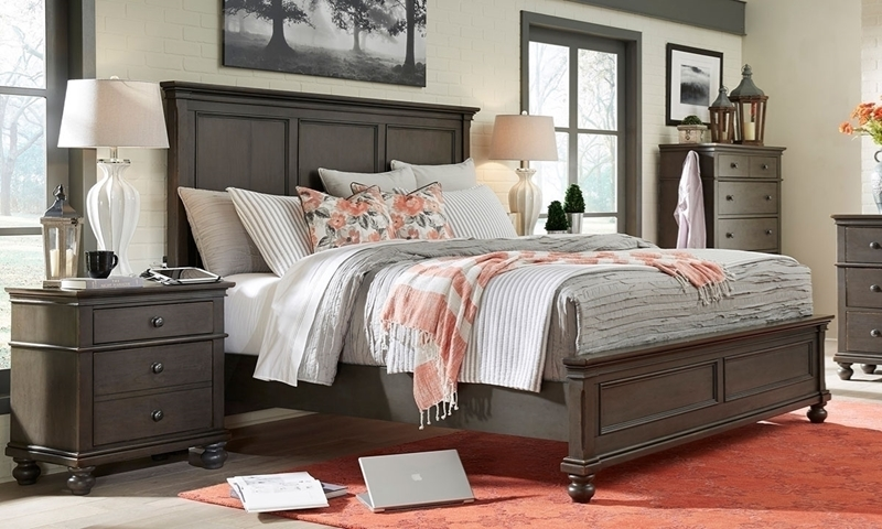Classic queen size oxford wood panel bed with built in USB charge ports crafted in popular solids and cherry veeners in a brown and gray peppercorn finish.