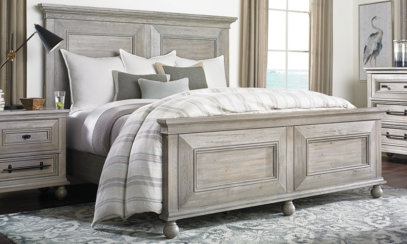 Cottage style king panel bedroom set in weathered gray