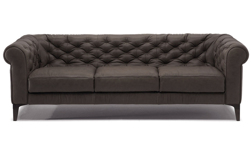 Natuzzi Amleto 93-Inch Leather Chesterfield Sofa | Haynes ...