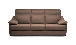 "Contemporary 98"" Natuzzi power reclining sofa with built in usb charge ports,  pillow top arms, & adjustable headrest in a brown top-grain Italian leather."