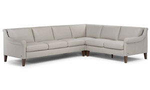 Natuzzi Dolcezza Top-Grain Leather Roll Arm Sectional