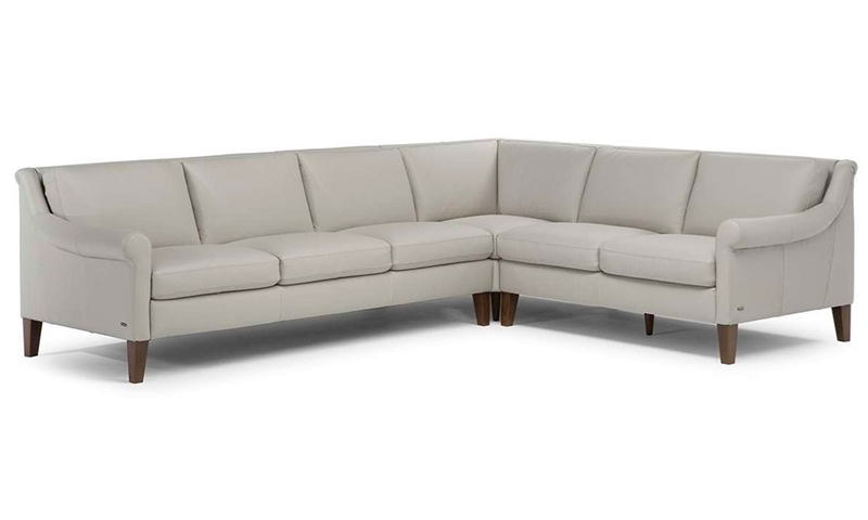 Natuzzi Dolcezza Top-Grain Leather Roll Arm Sectional Sofa in Gray