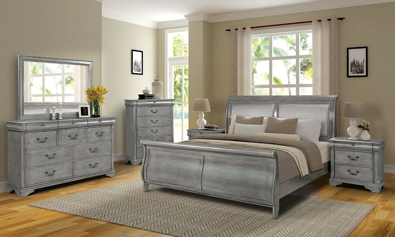 Louis Philippe style king bedroom suit with upholstered sleigh bed, 10-drawer dresser with mirror and nightstands in platinum grey finish