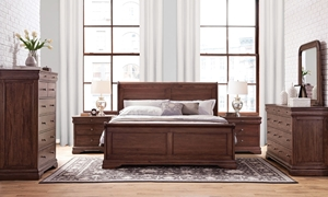 Frenchie Louis Philippe Mahogany King Bedroom Set with Sleigh Bed, 8-Drawer Dresser and Mirror