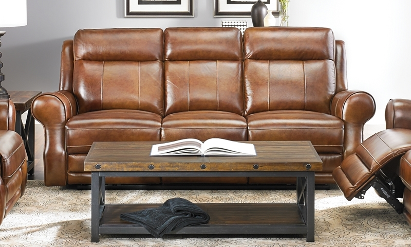Era Nouveau  Top-Grain Leather Power Reclining Sofa with USB