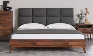 Torch Solid Acacia Upholstered King Platform Bed