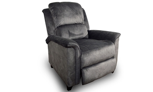 Transitional pub back recliner tailored in soft gray microfiber with welted layover arms, coil seating & lumbar support for extra reinforced comfort.