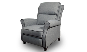 Classic gray push back recliner features coil seated cushions and cutback roll arms with contrast welting and extra lumbar support.