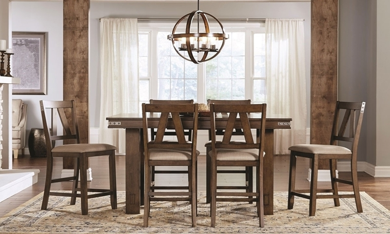Americana 5-piece dining set with counter height extension table and 4 slat back stools in warm brown finish