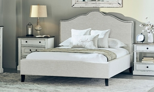 Parker House Jamie Flour Camelback Upholstered Queen Bed