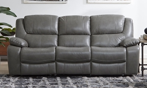 Top-Grain Leather Power Reclining Sofa with Pillowtop Arms and  USB Charging