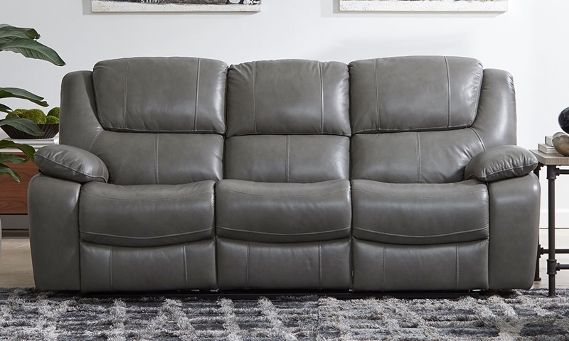 Top-Grain Leather Power Reclining Sofa with USB Charging