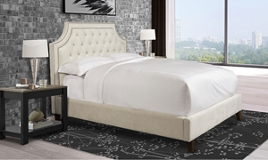 Parker House Jasmine Upholstered Queen Bed with Nailhead Time in Champagne Cream Fabric and Dark Wood Feet