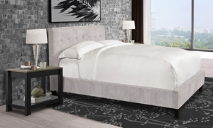Parker House Jody Porcelain Upholstered King Bed with Biscuit Tufted Headboard in Off-White Fabric