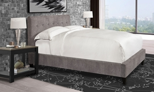 Parker House Jody Cornflower Upholstered Queen Bed with Biscuit Tufted Headboard in Gray Fabric