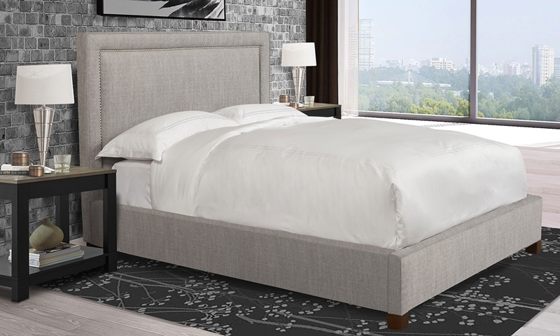 Parker House Cody Cork Upholstered King Bed tailored in Light Gray Fabric with Chrome Accents