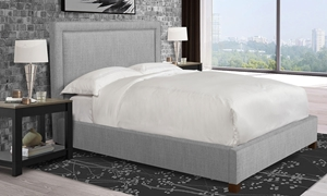 Parker House Cody Mineral Upholstered Queen Bed tailored in Medium Gray Fabric with Chrome Accents