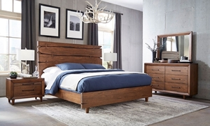 Contemporary Denver Live Edge Queen Bedroom Set crafted from Solid Brazilian Pine Wood includes Panel  Bed, 6-Drawer Dresser and Landscape Mirror