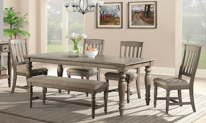 Casual 6-piece dining set with 78-inch storage table, 4 side chairs and bench in oak finish