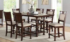 Traditional dining set includes counter-height table with storage shelf and 4 neutral upholstered chairs