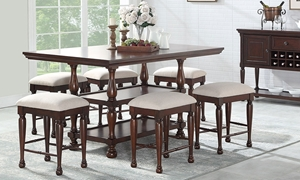 Traditional dining set with counter-height table with storage shelf and four neutral upholstered stools