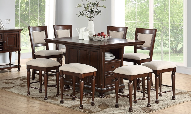Casual dining set with counter-height island table in brown cherry finish and 4 stools in neutral upholstery