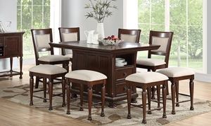 Casual counter-height dining set includes island table with storage in brown cherry with neutral upholstered side chairs