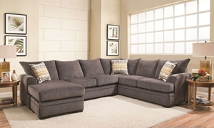 Perth Smoke American-Made Sectional with Left Side Chaise