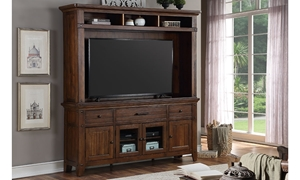 78-inch wall unit entertainment console with hutch, TV housing, shelves and storage drawers in chestnut  brown finish