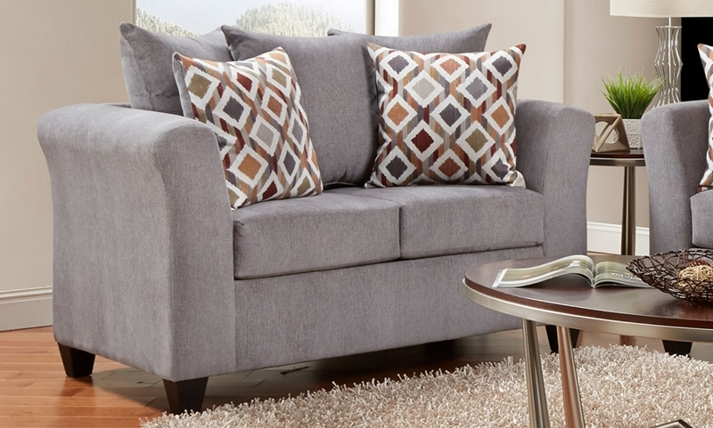 Transitional fabric loveseat in gray upholstery with pillowback cushions and throw pillows